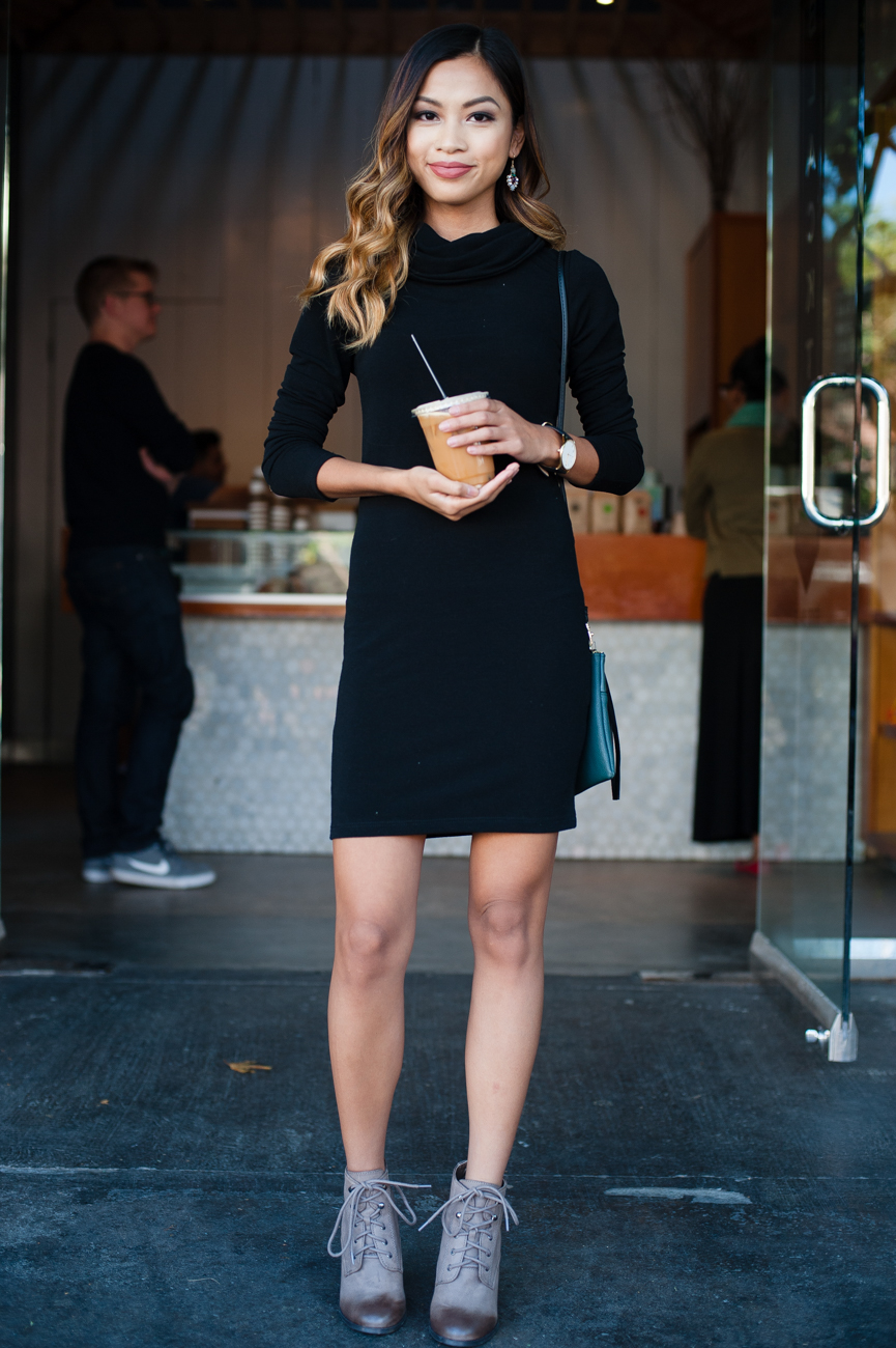 Chic look | Flattering black turtle neck dress with lace up booties