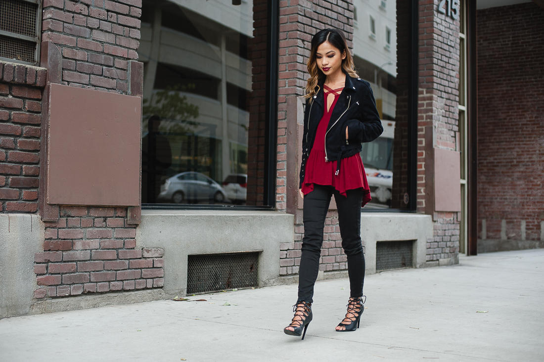 Aiko Cunanan Wearing Vegan Suede Biker Jacket