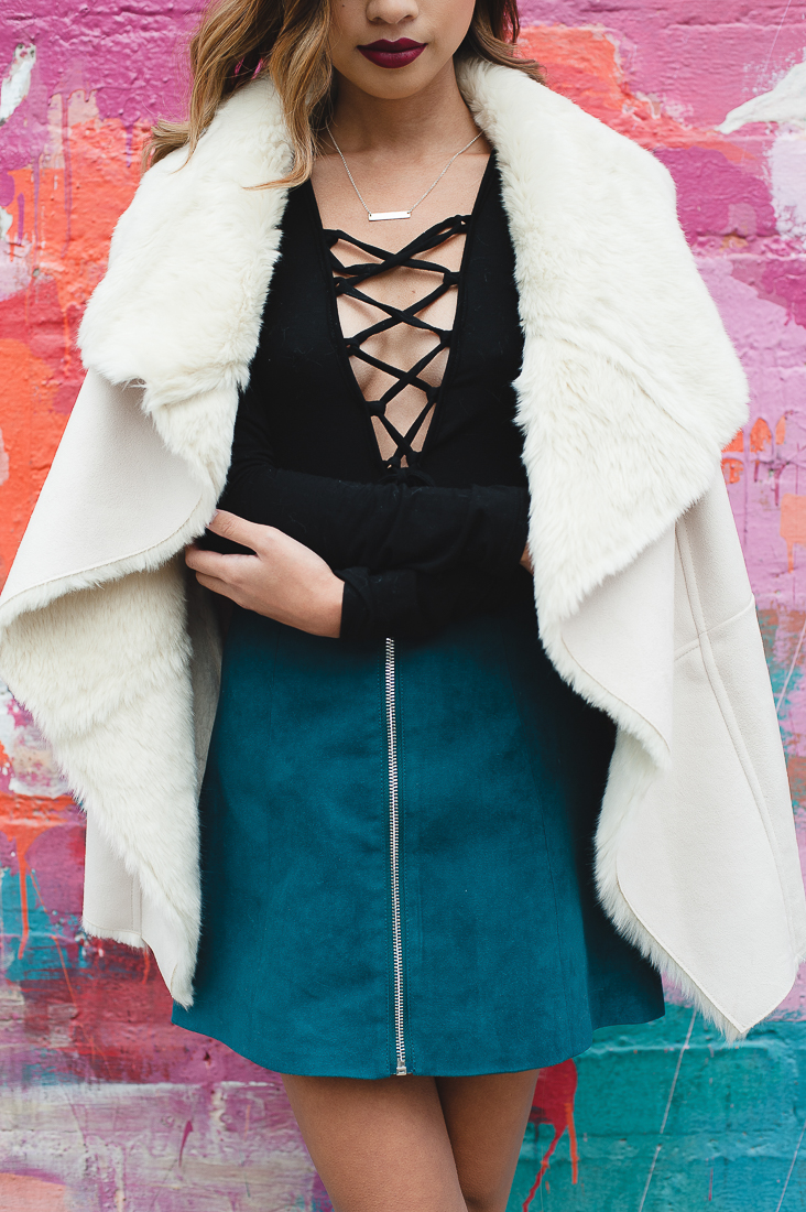 Faux Shearling Vest with Suede Skirt