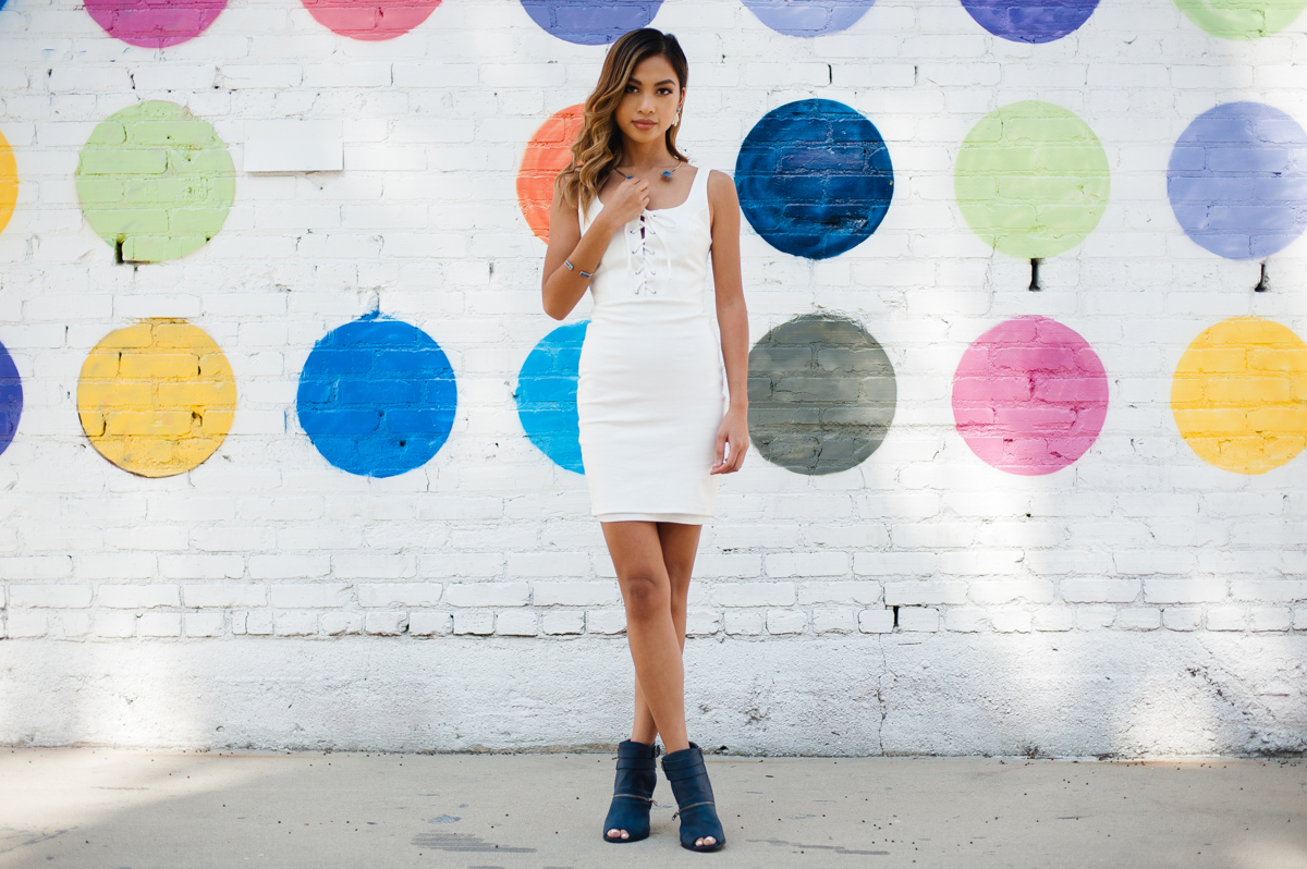 White Lace Up Dress for Spring and Summer