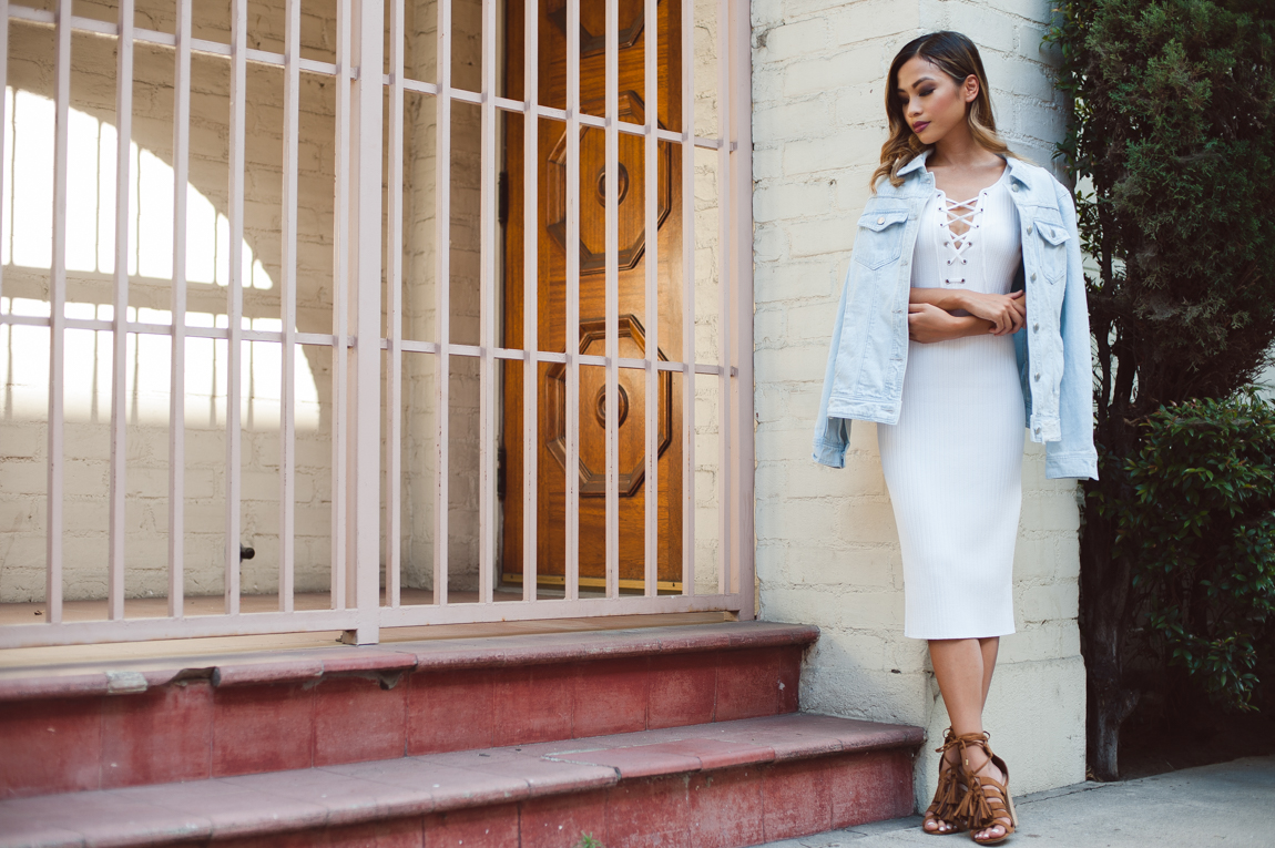 Jean jackets paired with dresses